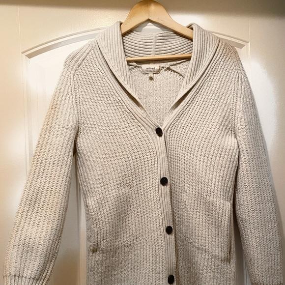 Aritzia Wilfred Beige Merino Wool Cardigan. S
